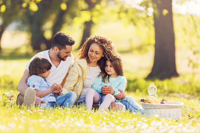 Hispanic family having a picnic on a bright summer day in grass